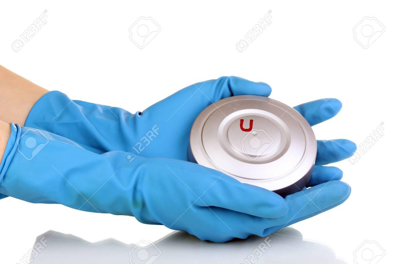 Uranium in hands isolated on white Stock Photo - 13681155
