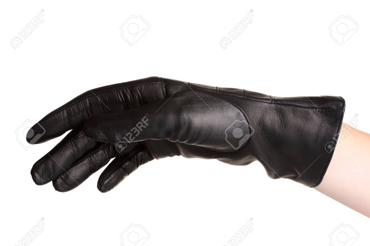 9752138a3 women hand in black leather glove isolated on white Stock Photo - 13818911