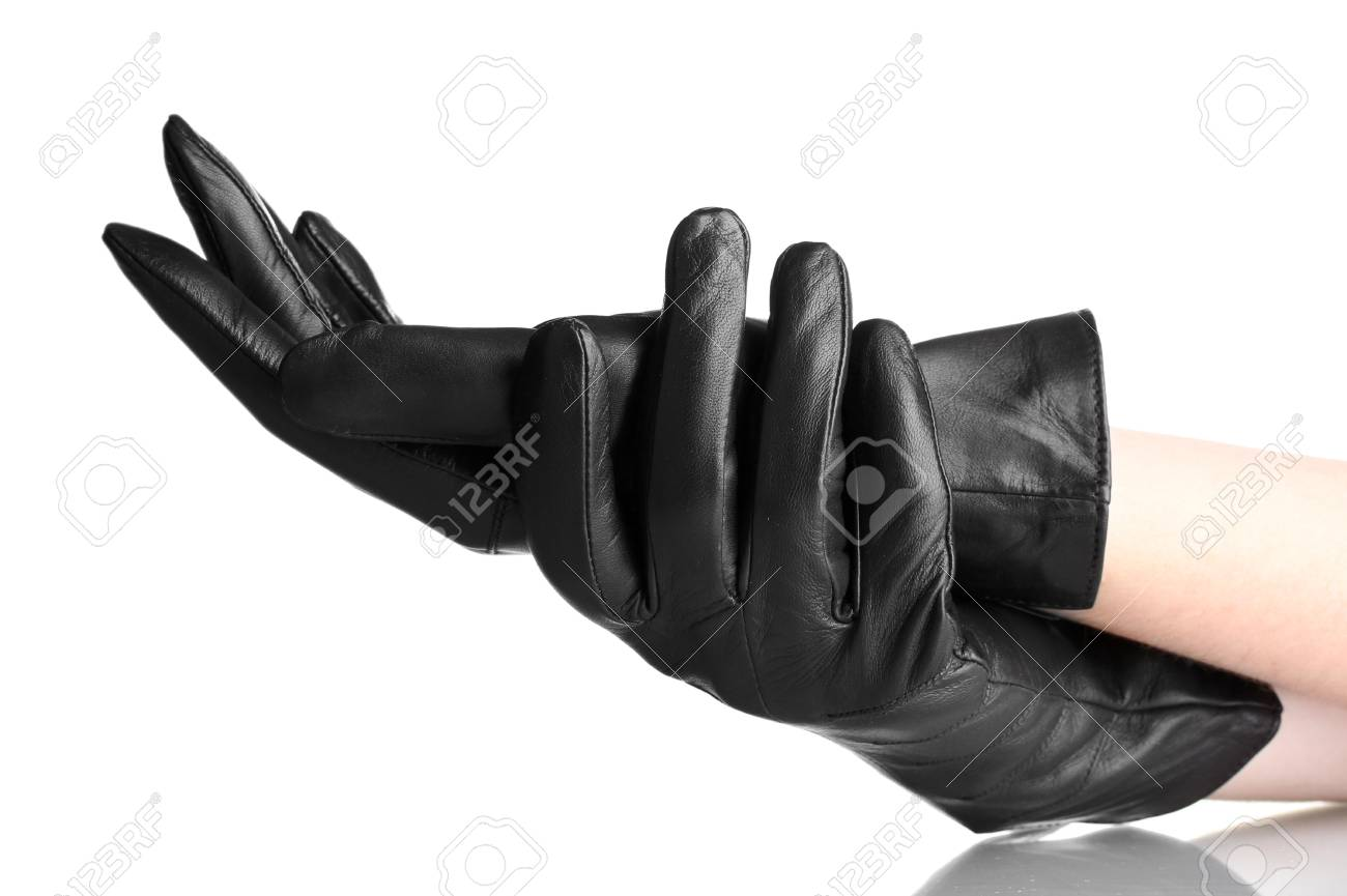 dc925b190 women's hands in black leather gloves isolated on white Stock Photo -  13818805