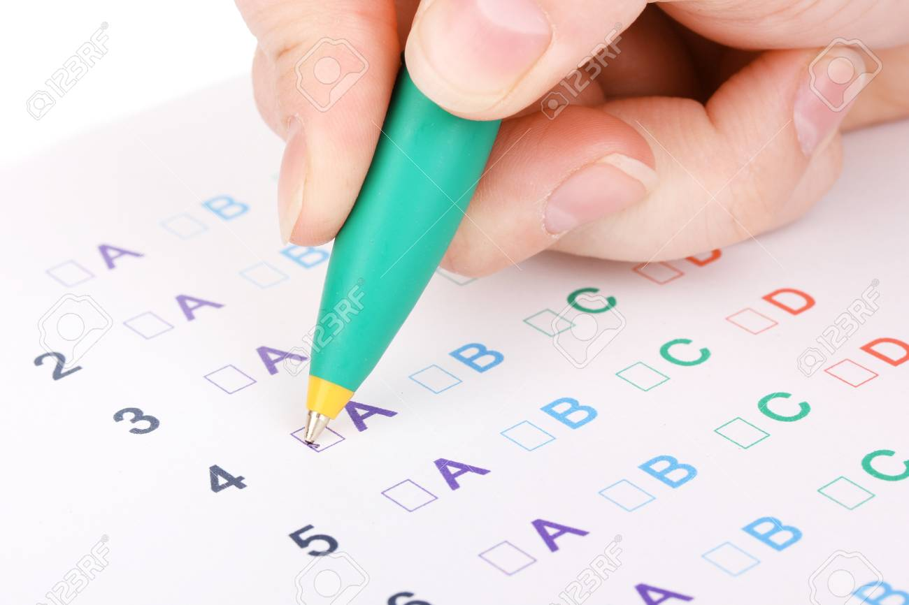 Responding to test questions close-up Stock Photo - 13820009