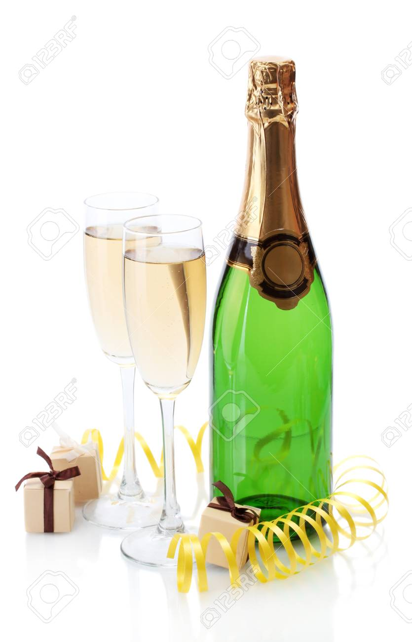 glasses and bottle of champagne, gifts and serpentine isolated on a white Stock Photo - 13818256