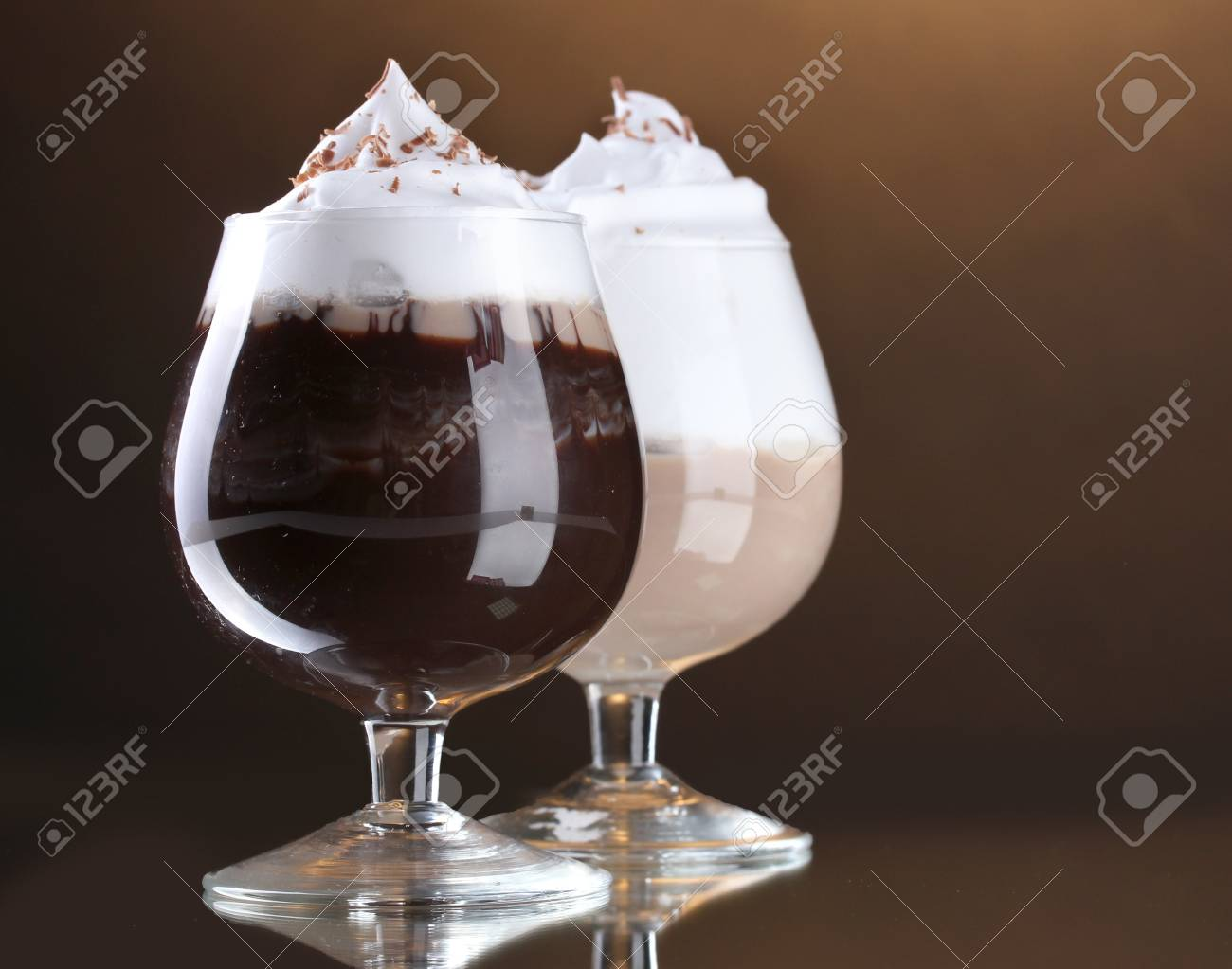 glasses of coffee cocktail on brown background Stock Photo - 13819889
