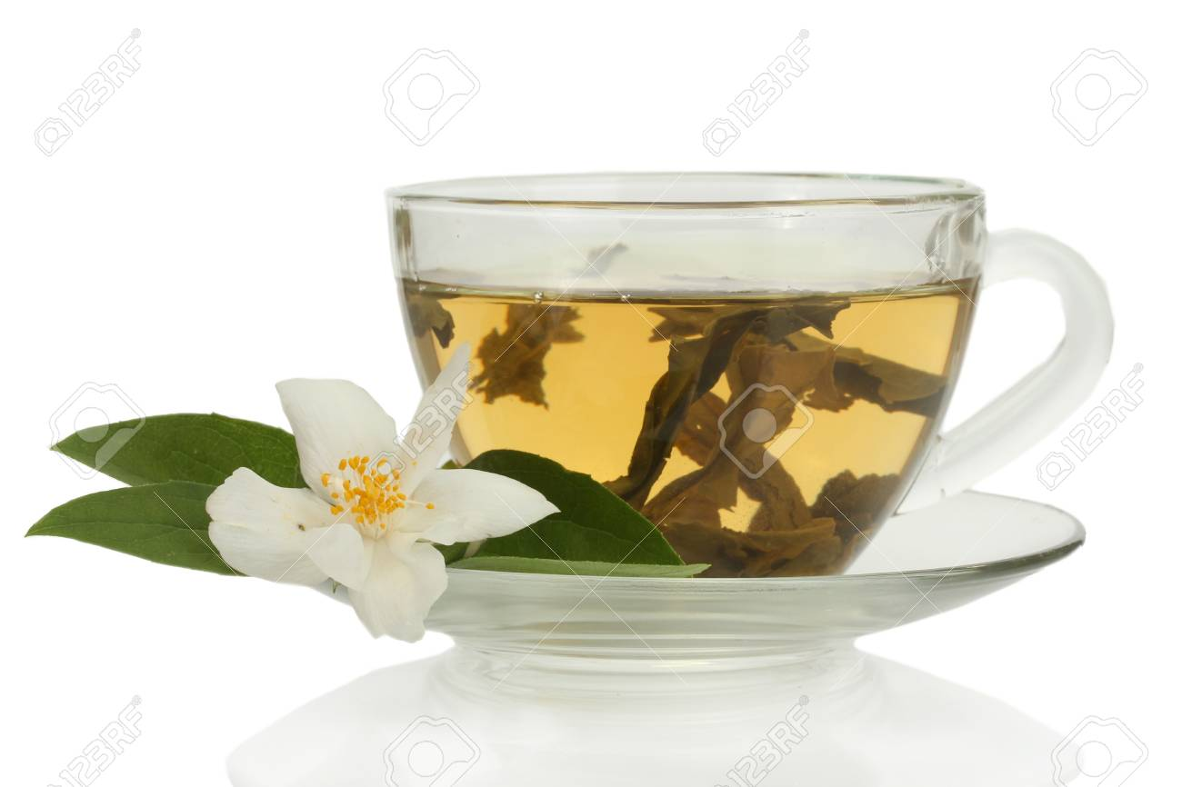 Cup Of Green Tea With Jasmine Flowers Isolated On White Stock Photo