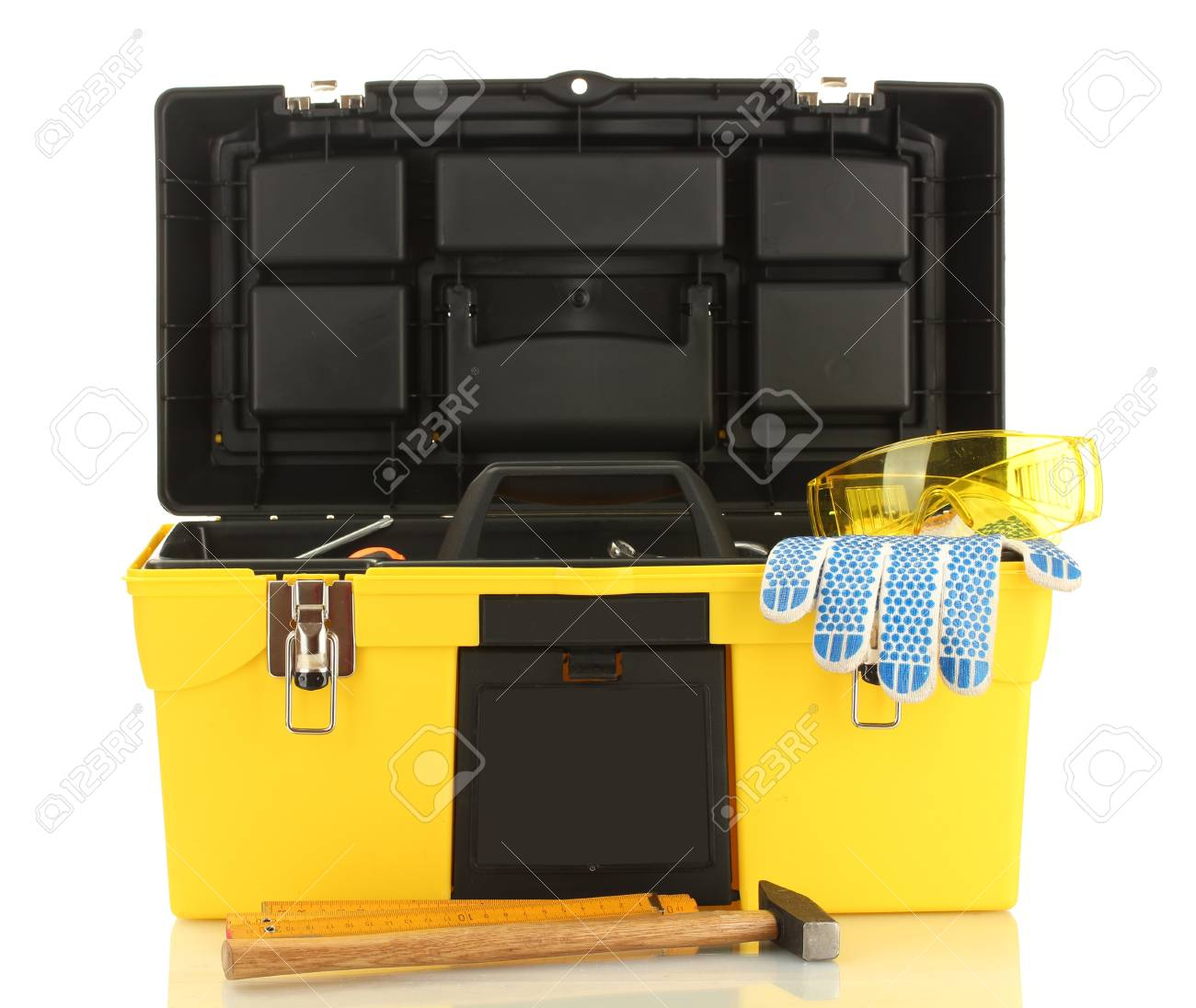 Open yellow tool box with tools isolated on white background Stock Photo - 13864422