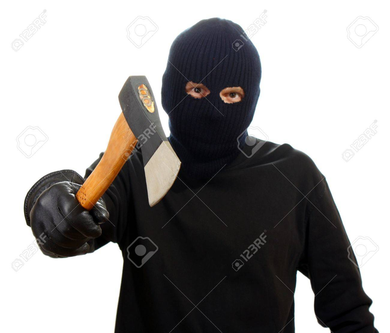 Bandit in black mask with hatchet isolated on white Stock Photo - 13901223