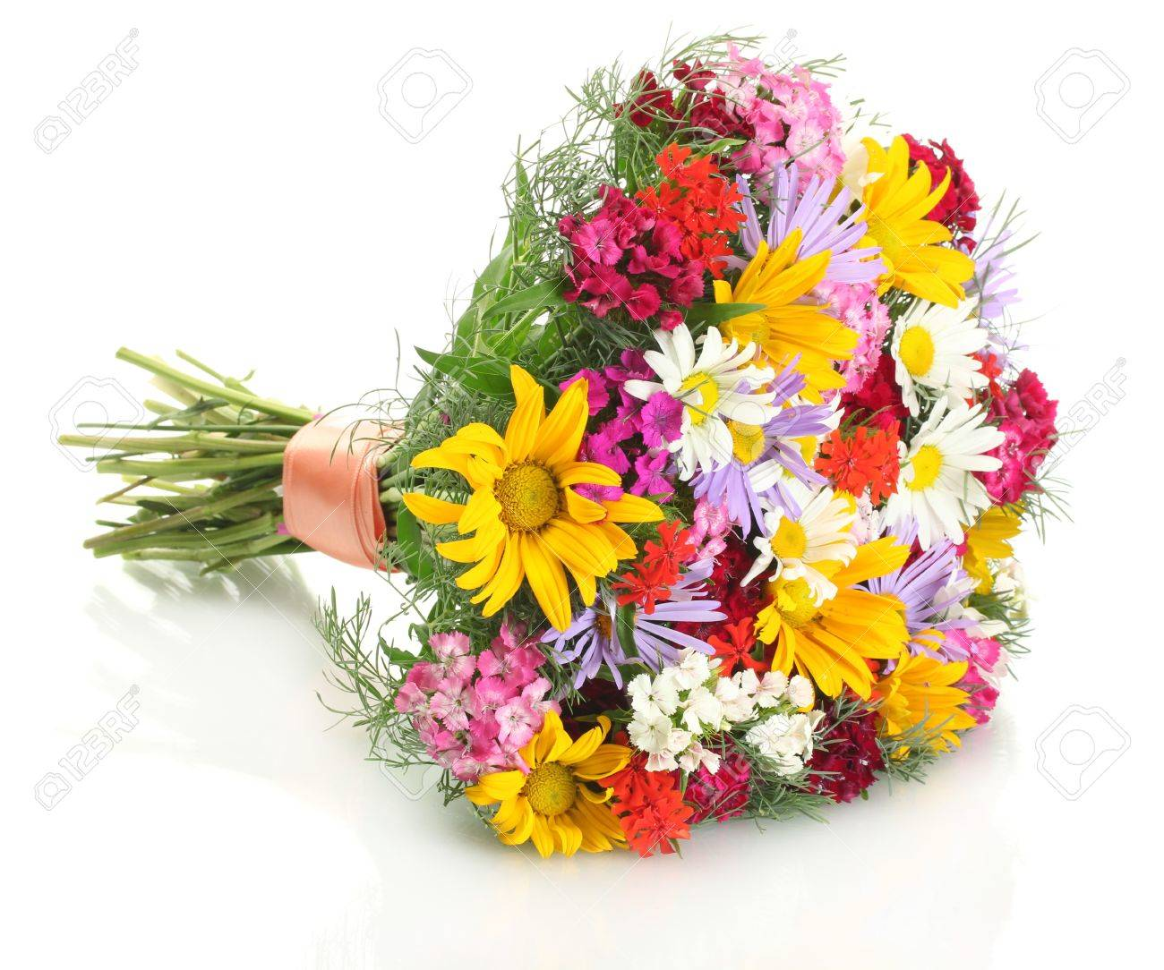 beautiful bouquet of bright  wildflowers, isolated on white Stock Photo - 14011416