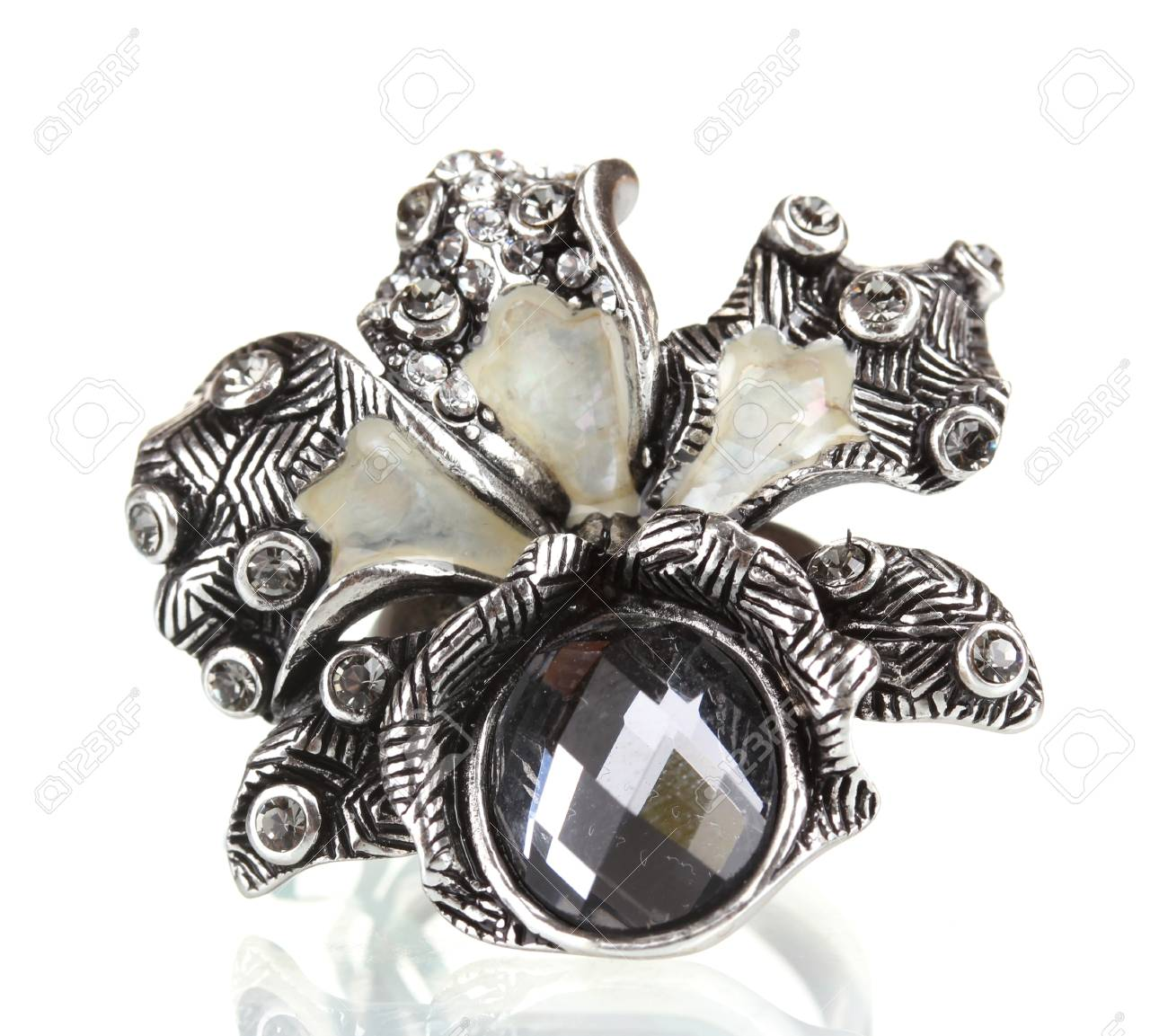 Silver ring with black gem isolated on white Stock Photo - 13998694