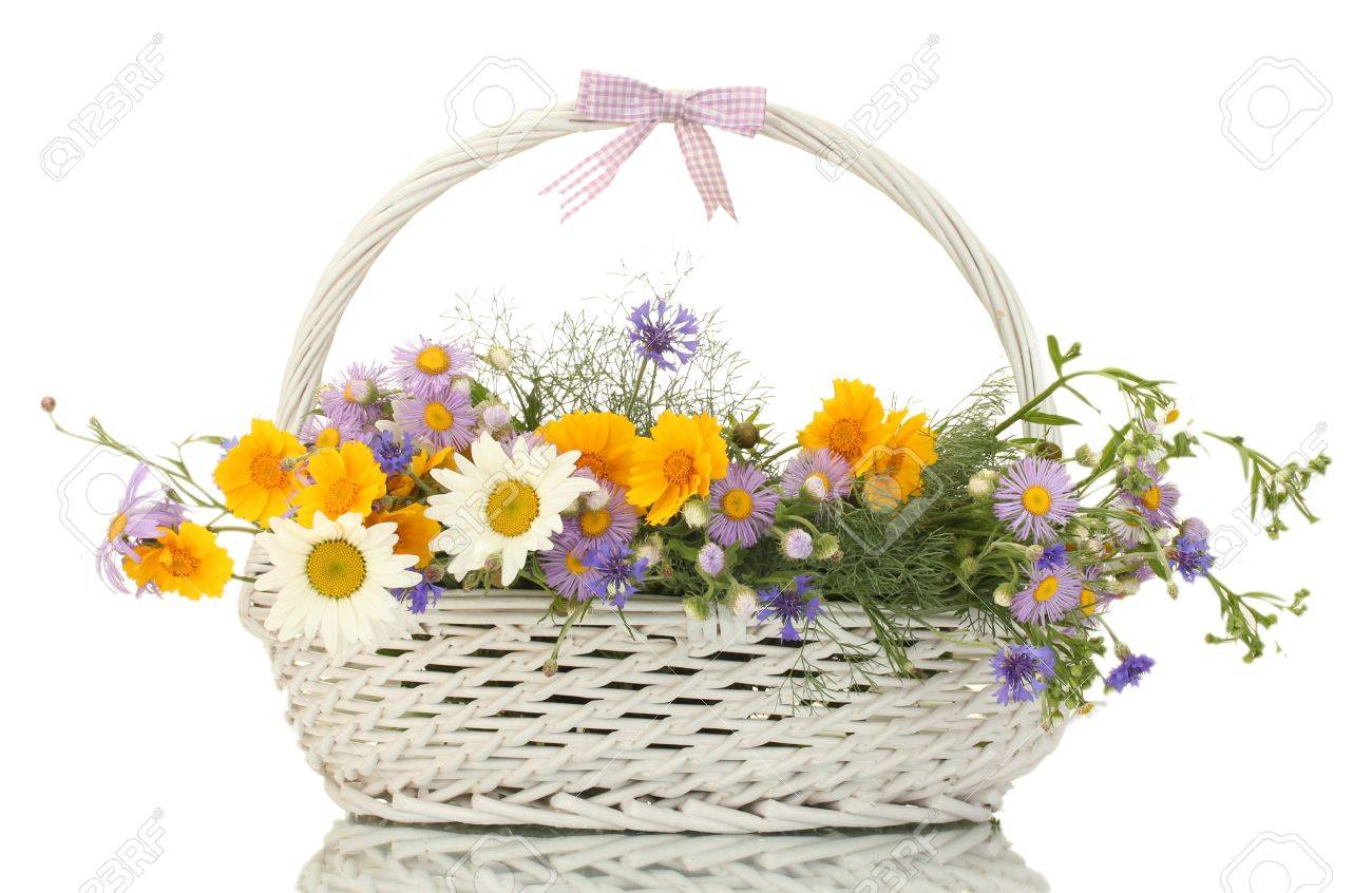 beautiful bouquet of bright  wildflowers in basket, isolated on white Stock Photo - 14064511