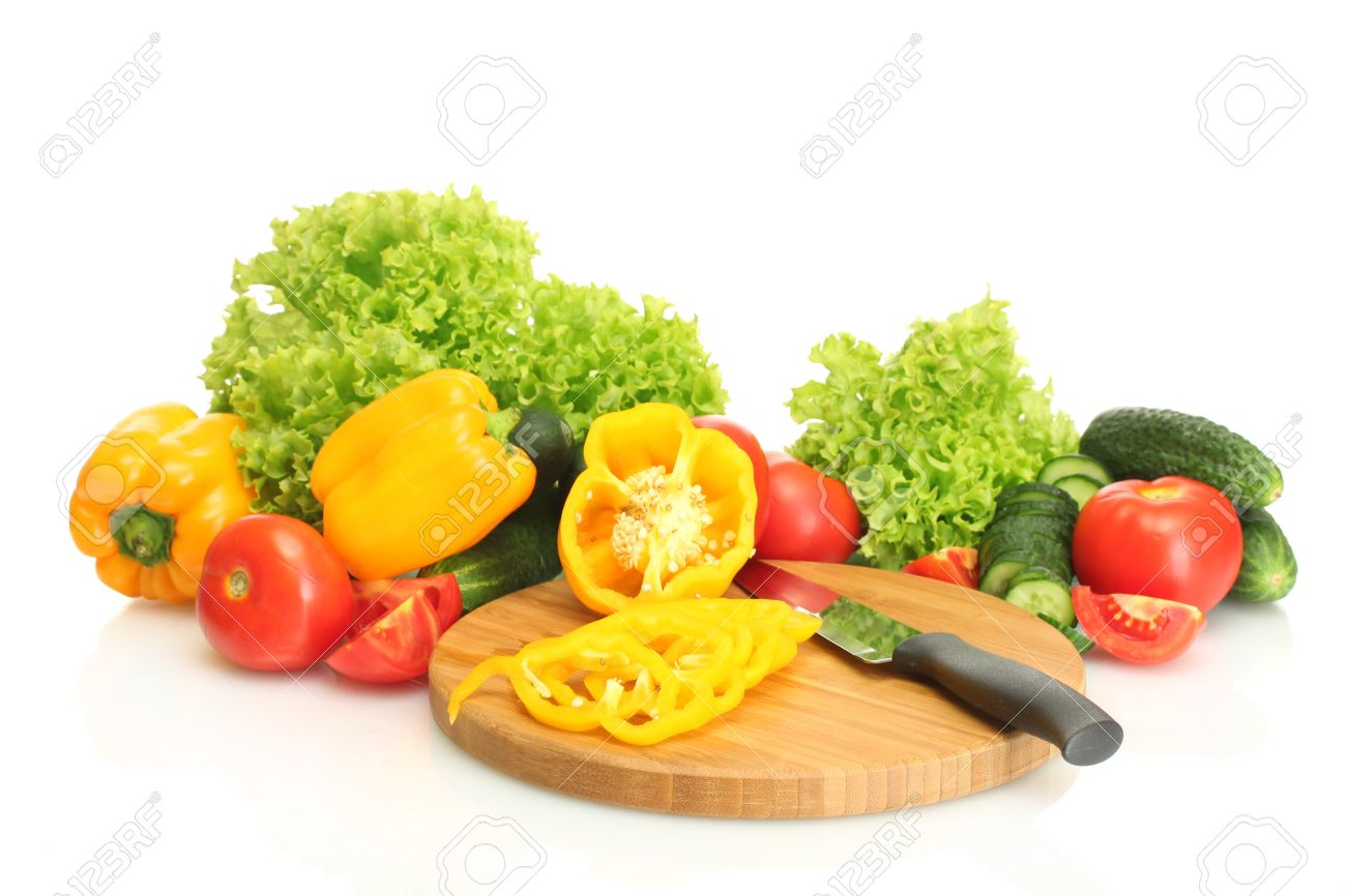 fresh vegetables and knife on cutting board isolated on white Stock Photo - 14053561