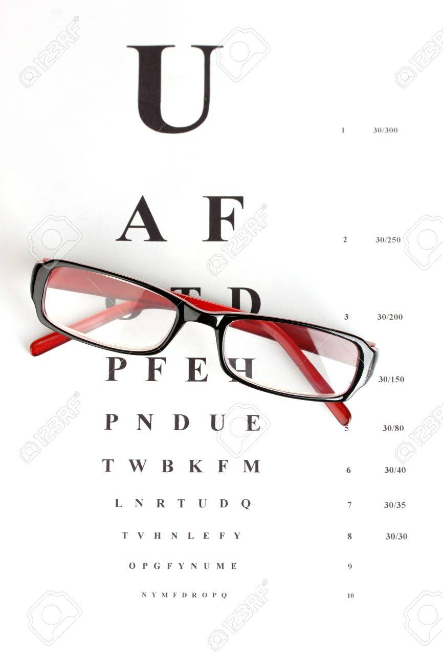 65268ec4ea8 Eyesight test chart with glasses close-up Stock Photo - 14053121