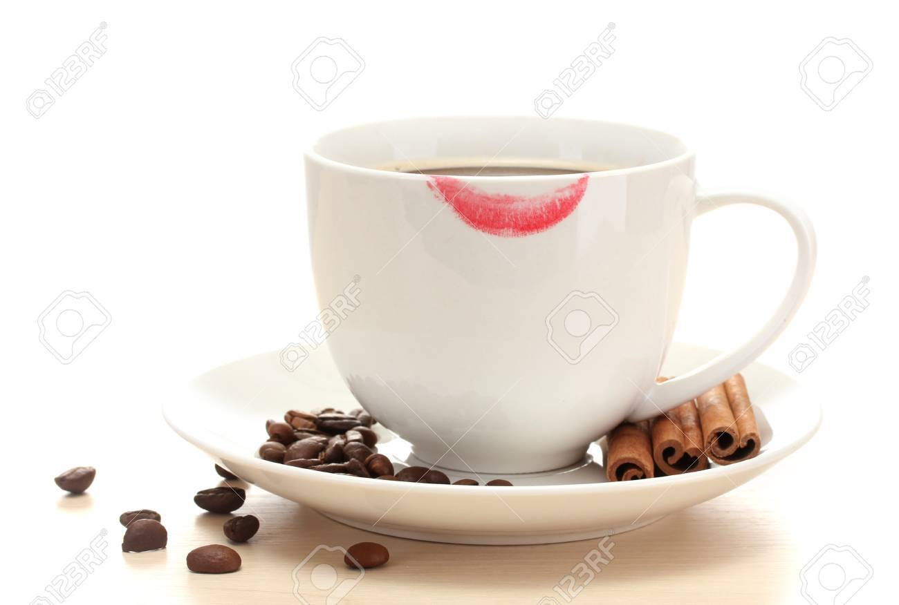 cup of coffee with lipstick mark beans and cinnamon sticks isolated on white Stock Photo - 14053106