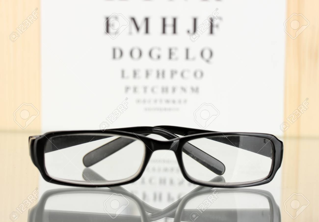 46454695c8b Eyesight test chart with glasses close-up Stock Photo - 14077581