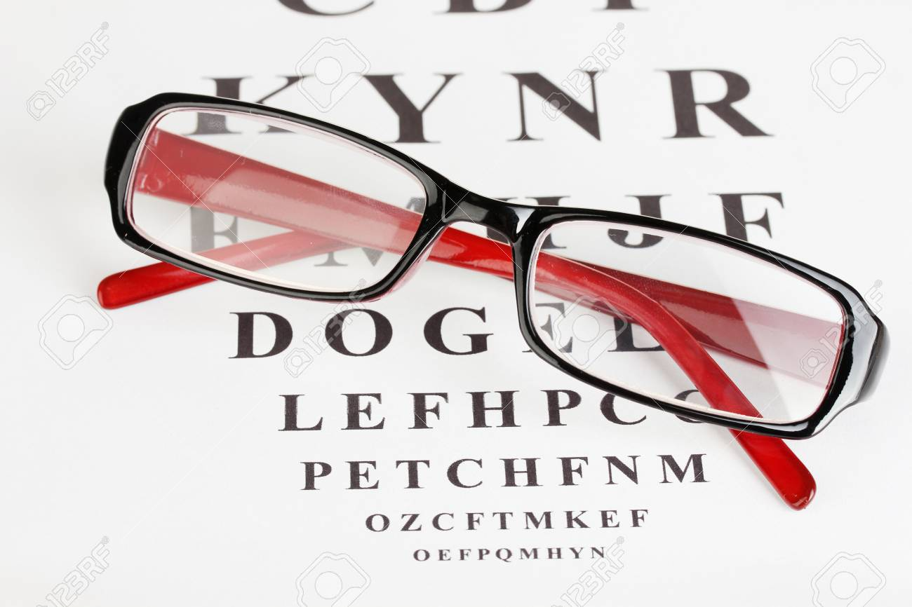 6361954f505 Eyesight test chart with glasses close-up Stock Photo - 14077736
