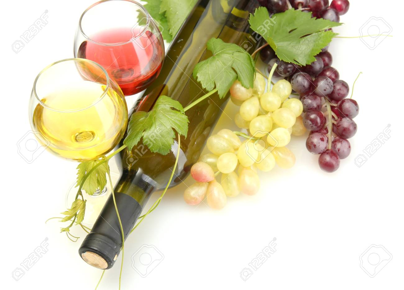 bottle and glasses of wine and ripe grapes isolated on white Stock Photo - 14077441