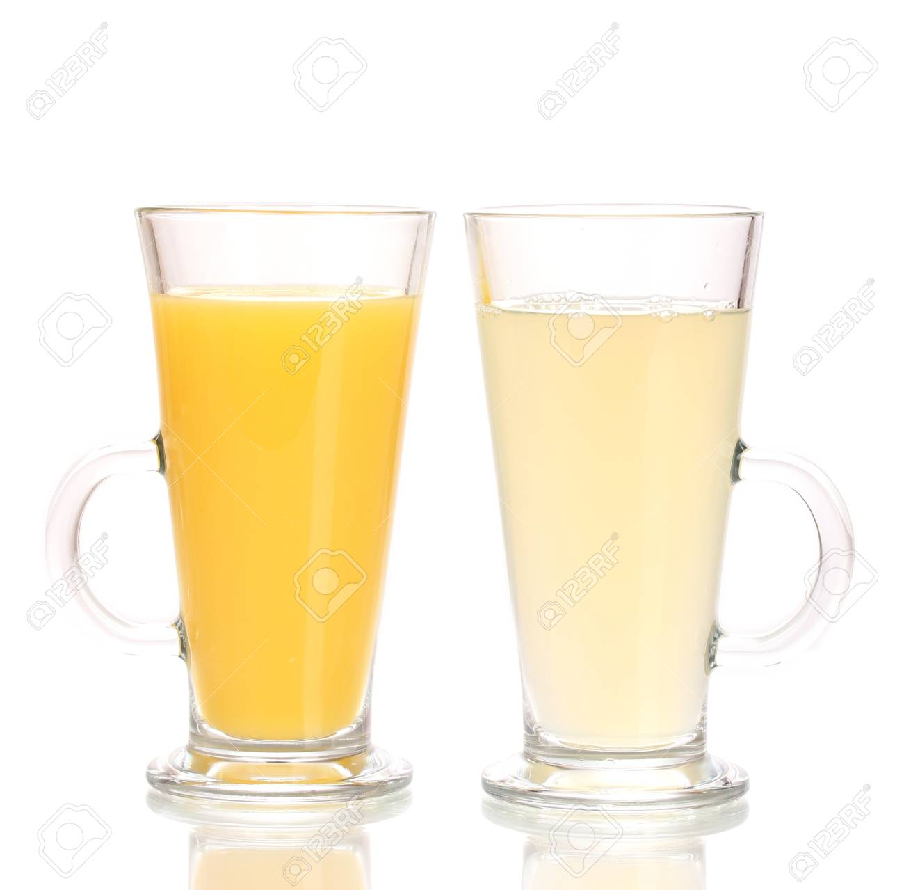 Tropical juices in glasses isolated on white Stock Photo - 14077059