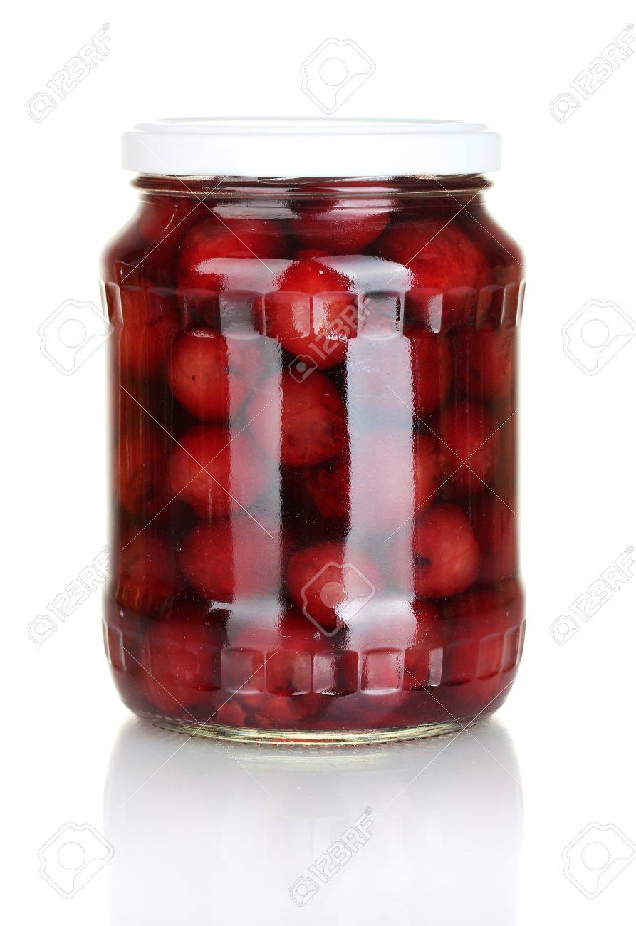 Jar of canned cherries isolated on white Stock Photo - 14092103