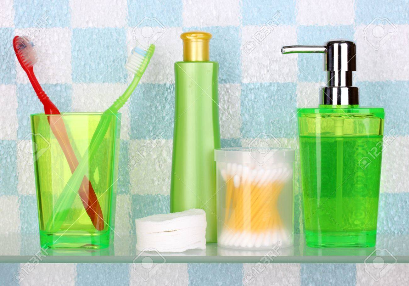 Shelf With Cosmetics And Toiletries In Bathroom Stock Photo   14098706