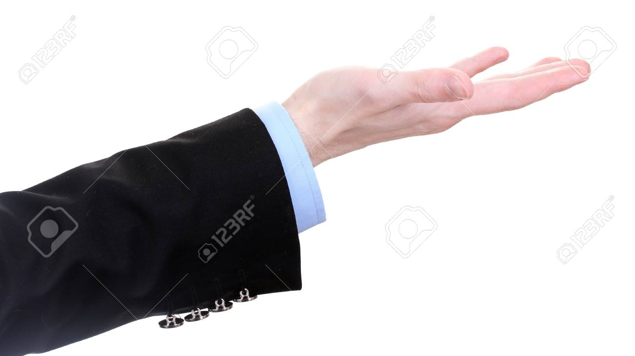 business man hand isolated on white Stock Photo - 14097336