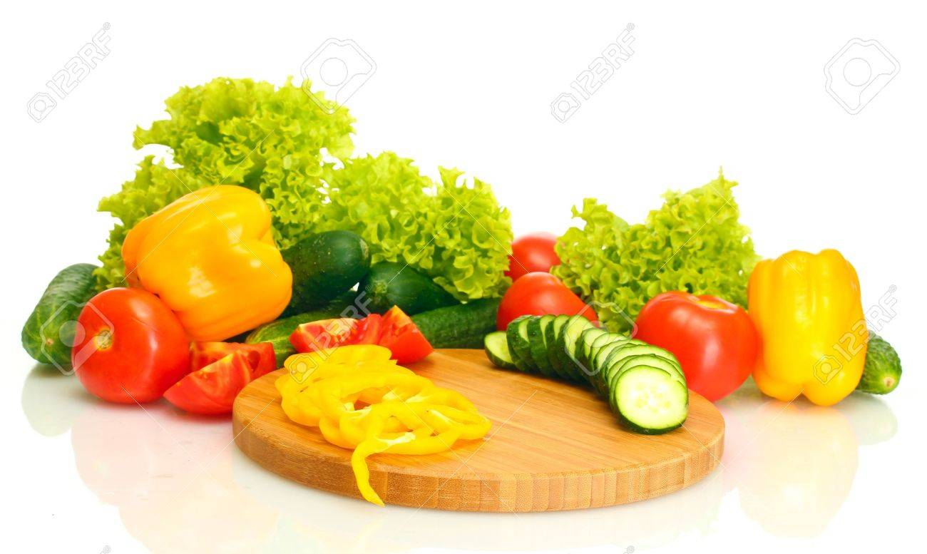Fresh Vegetables On Cutting Board Isolated On White Stock Photo   14169757