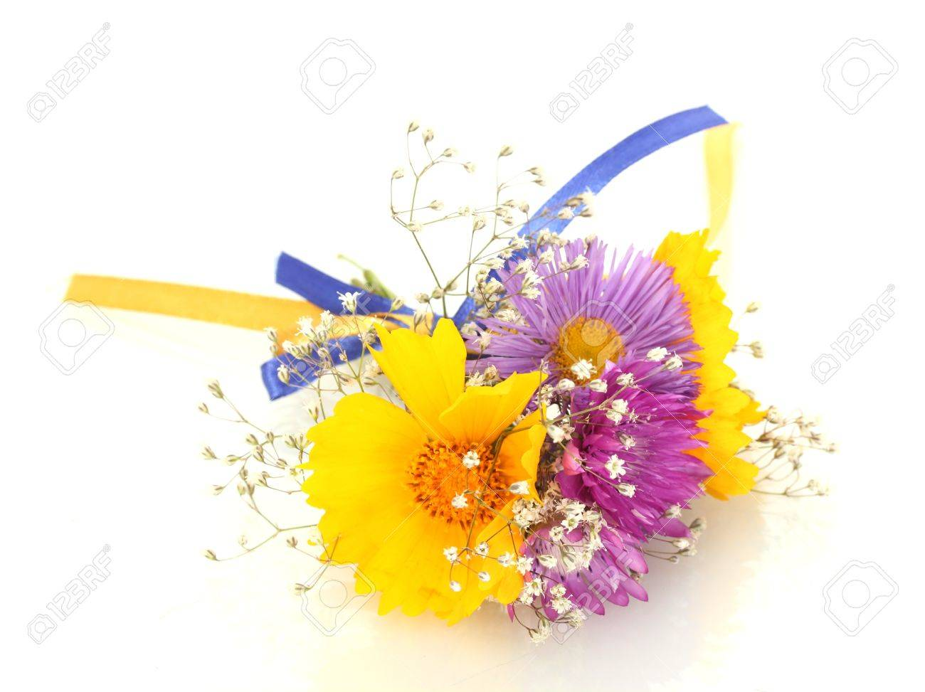 beautiful bouquet of bright  wildflowers, isolated on white Stock Photo - 14162031