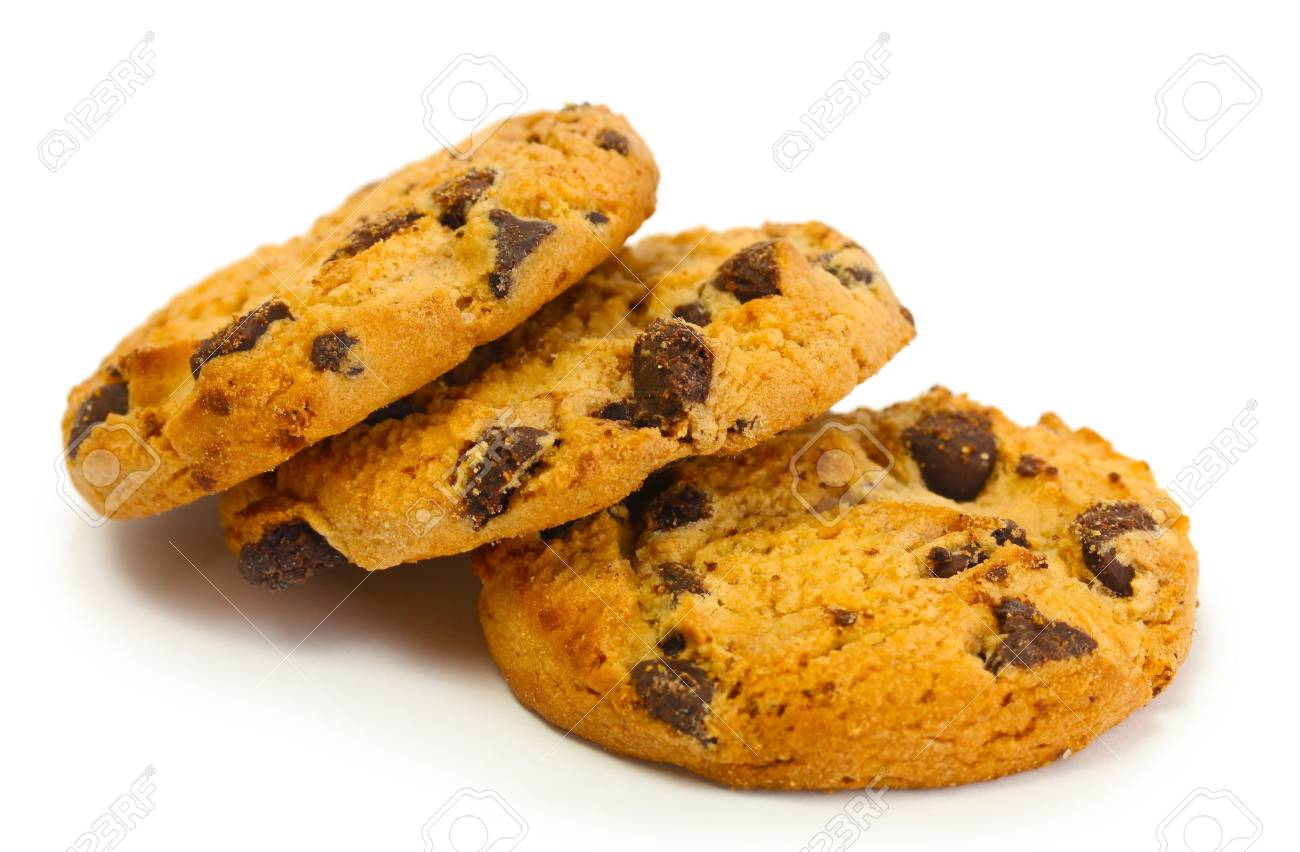 Chocolate chips cookies isolated on white Stock Photo - 14171099