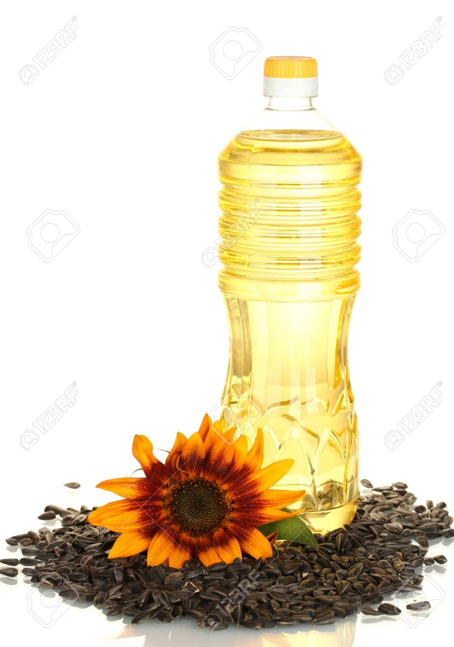 sunflower oil in a plastic bottle isolated on white background Stock Photo - 14170337