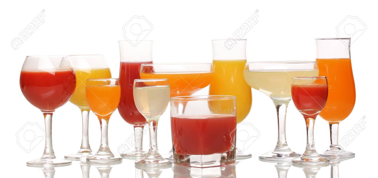 Tropical juices in glasses isolated on white Stock Photo - 14161876