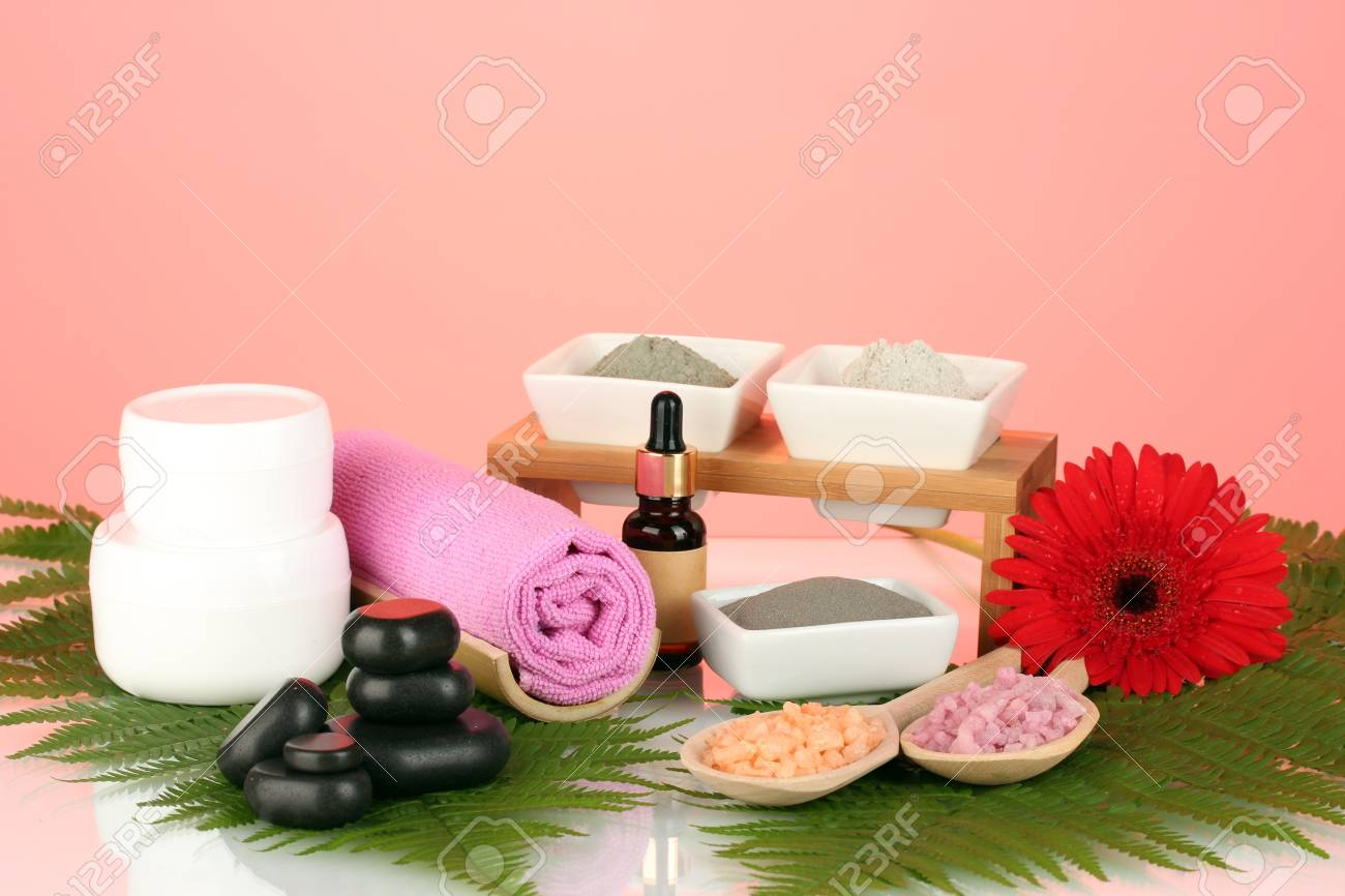 cosmetic clay for spa treatments isolated on colorful background Stock Photo - 14182341