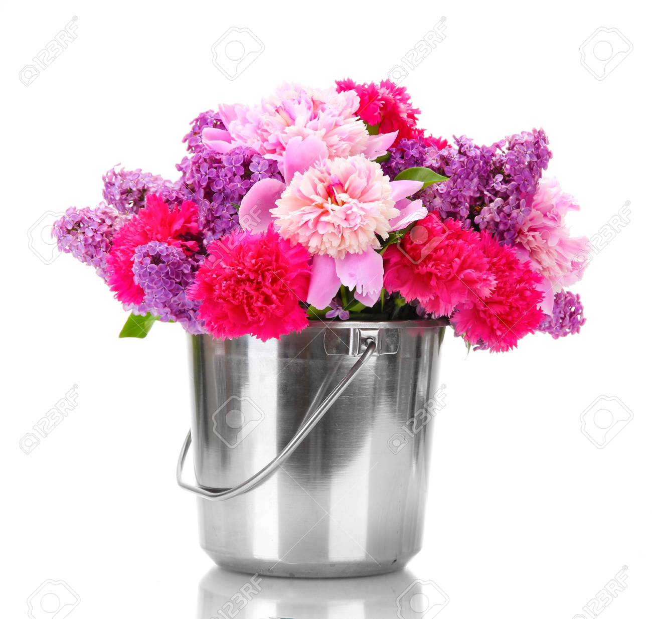 Beautiful Spring Flowers In Metal Bucket Isolated On White Stock