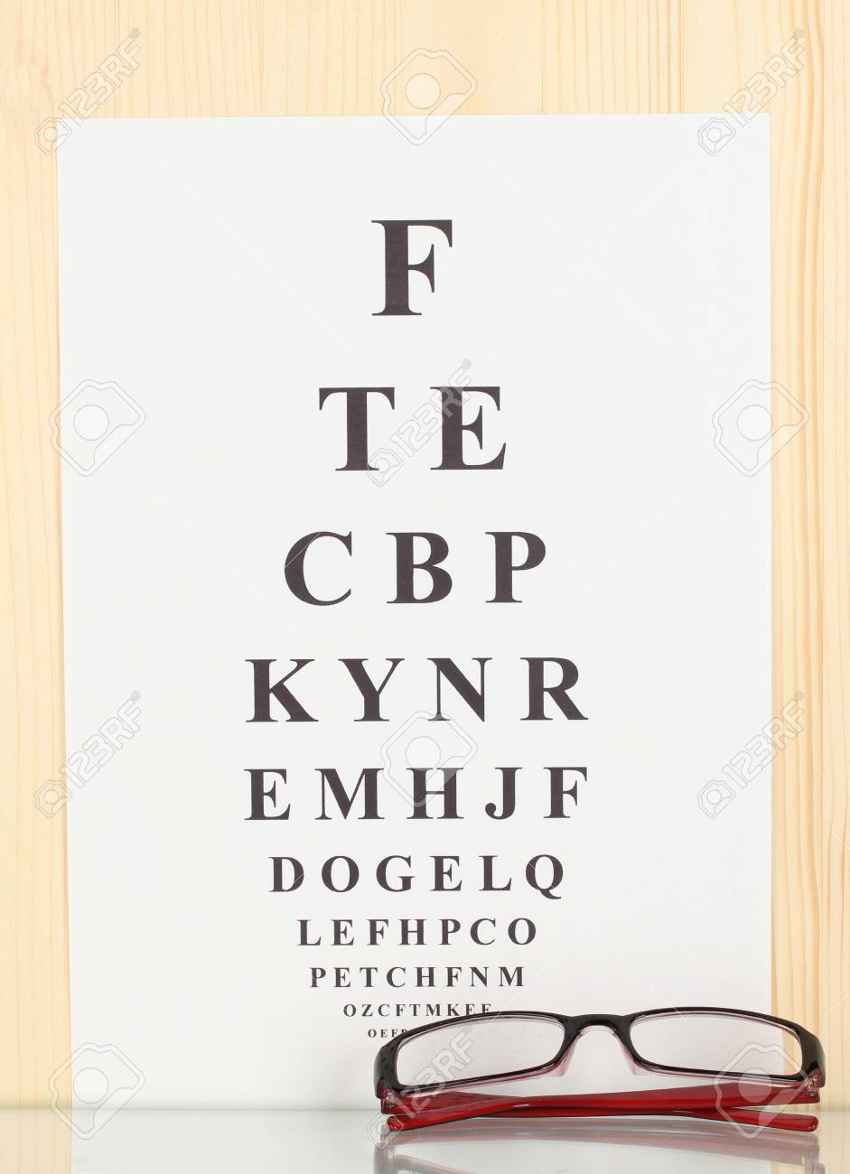 76543cdc5ff Eyesight test chart with glasses close-up Stock Photo - 14352656