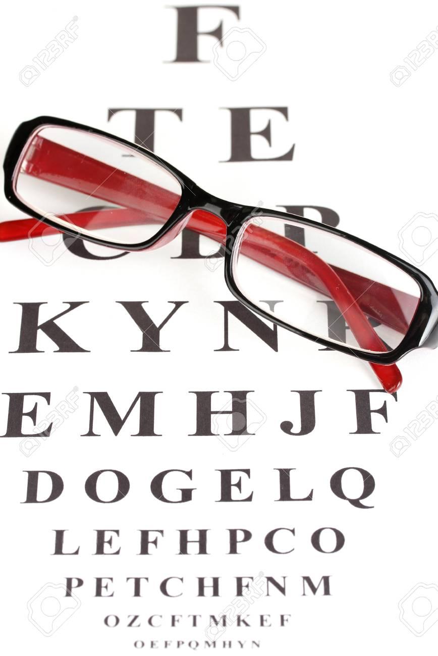 4812687fbb5 Eyesight test chart with glasses close-up Stock Photo - 14352060