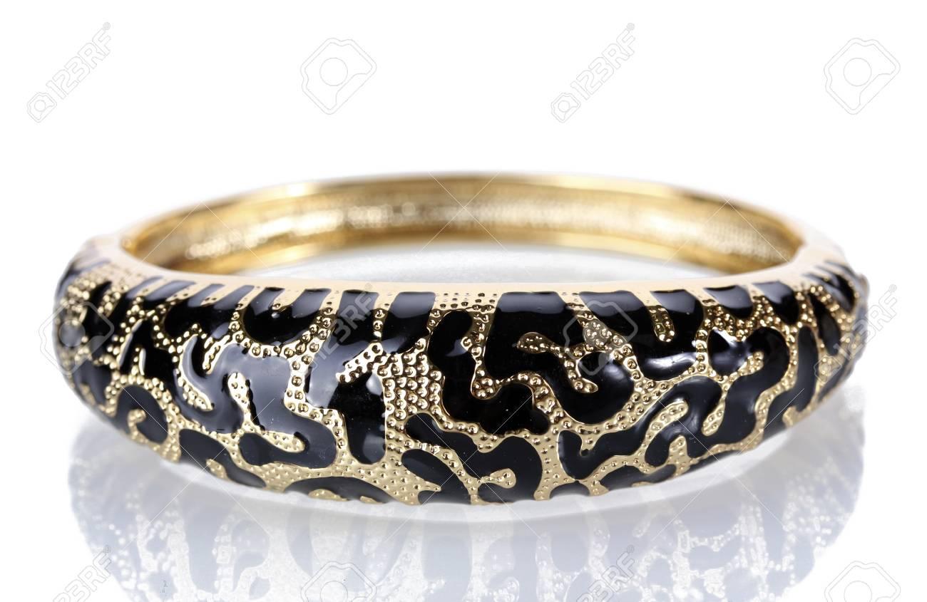 Beautiful golden bracelet isolated on white Stock Photo - 14368200