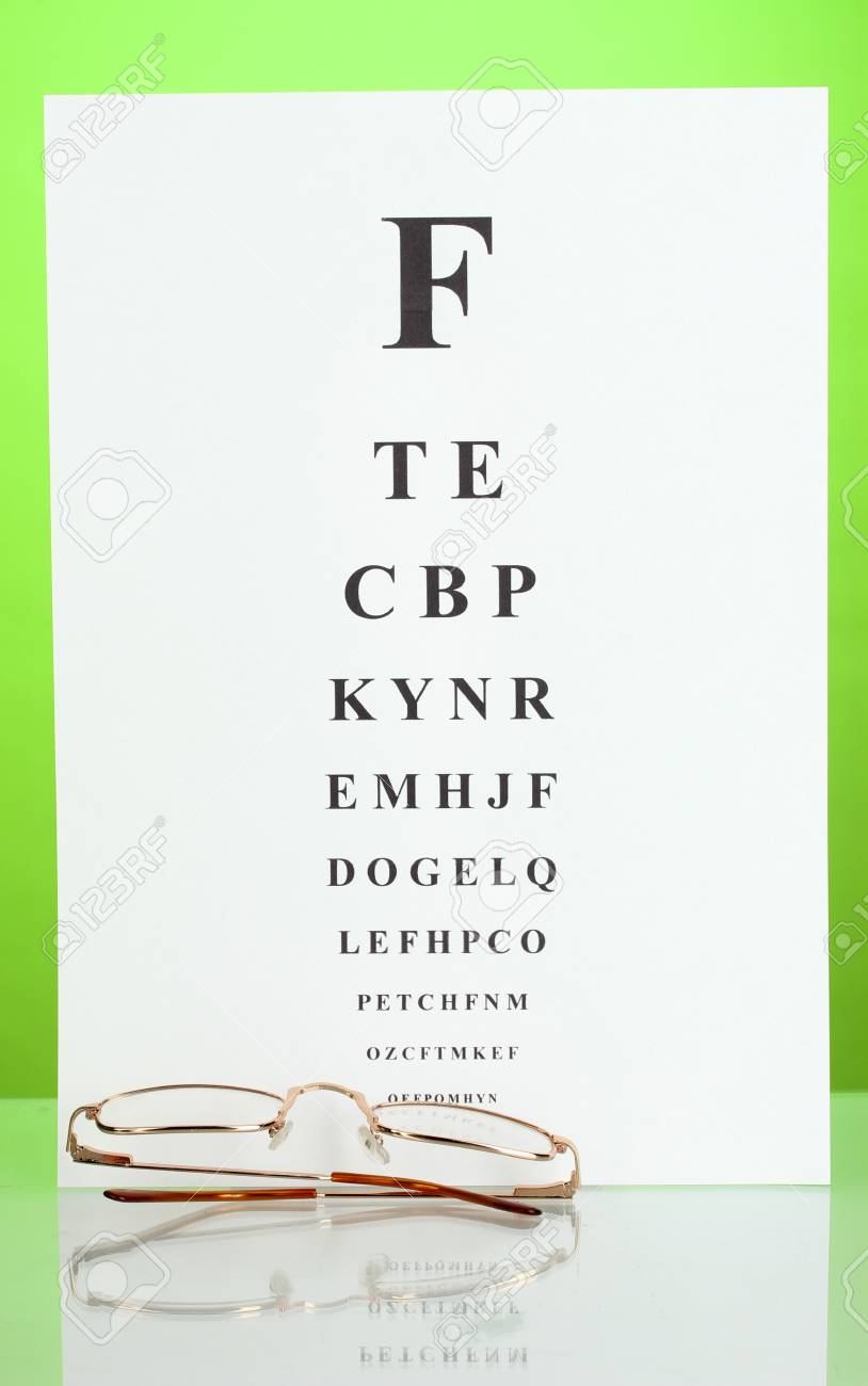 ba6fa92f32a Eyesight test chart with glasses on green background close-up Stock Photo -  14437092