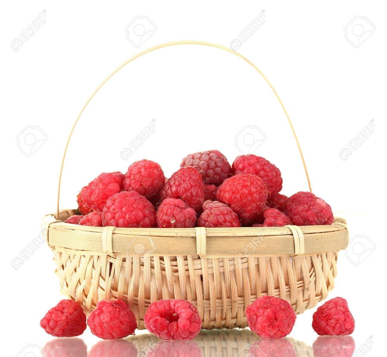 raspberry in a basket isolated on white Stock Photo - 14531237