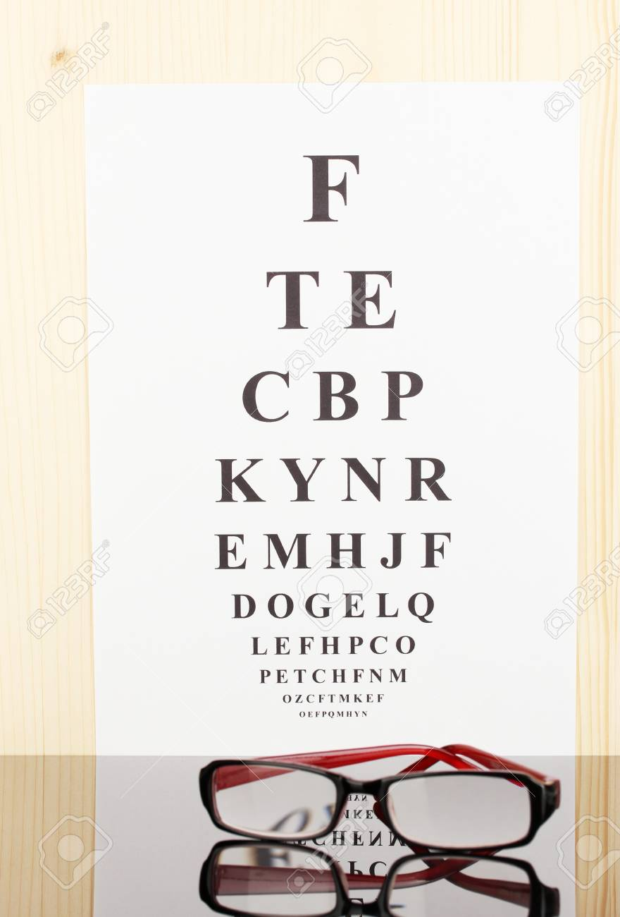 90664fab23a Eyesight test chart with glasses close-up Stock Photo - 14629432