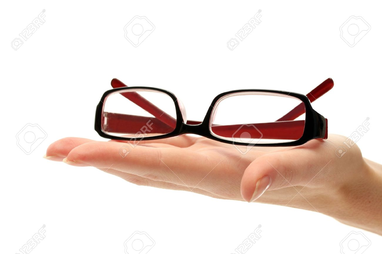 glasses on female hand, isolated on white - 14741138