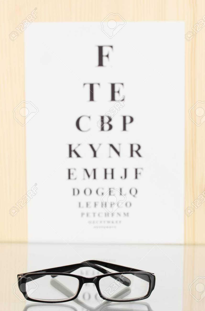 669f25e3003 Eyesight test chart with glasses close-up Stock Photo - 14793851