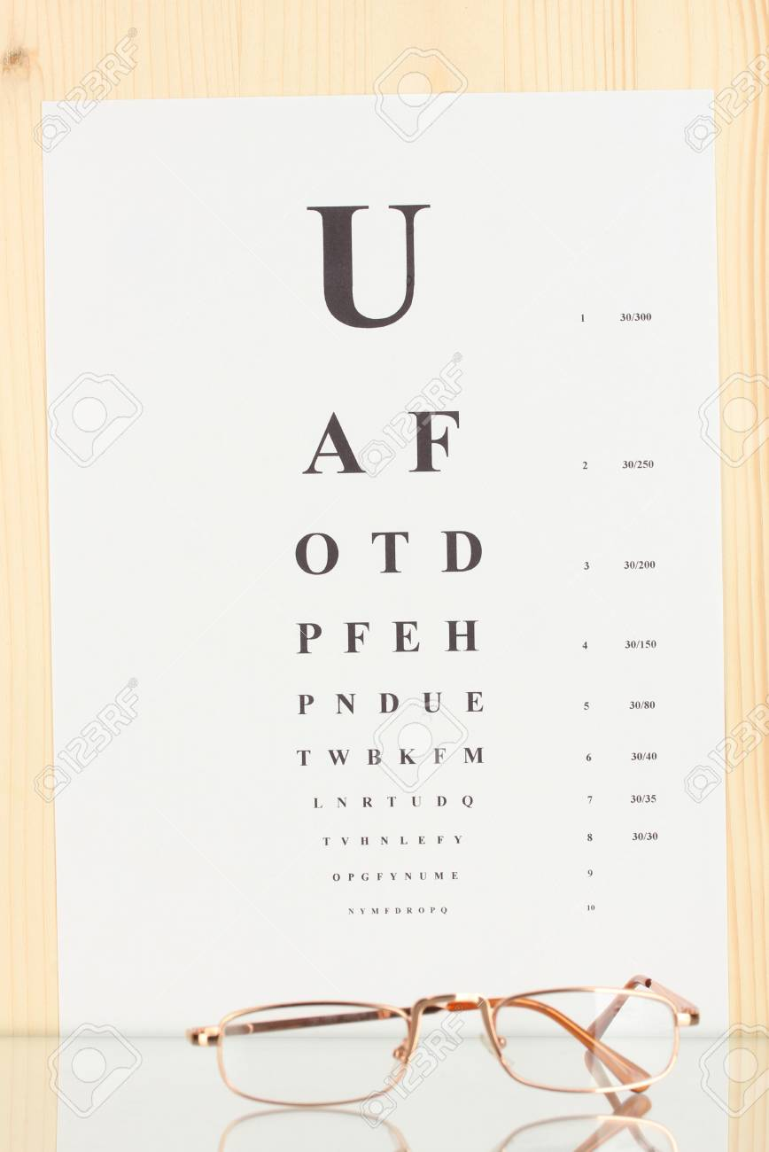 5aab150f53d Eyesight test chart with glasses close-up Stock Photo - 14838257