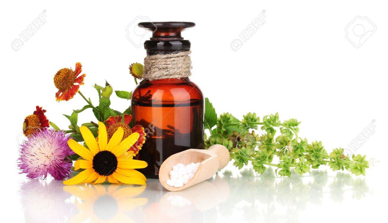 medicine bottle with tablets and flowers isolated on white - 14953617