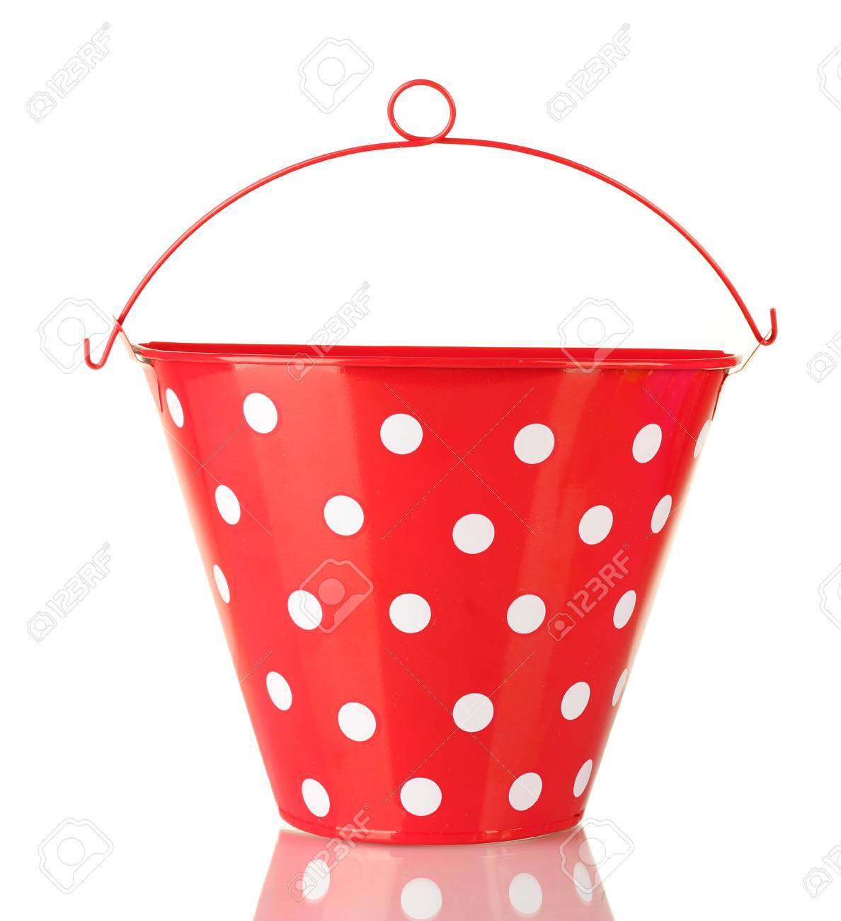 Red bucket with white polka-dot isolated on white Stock Photo - 15000564