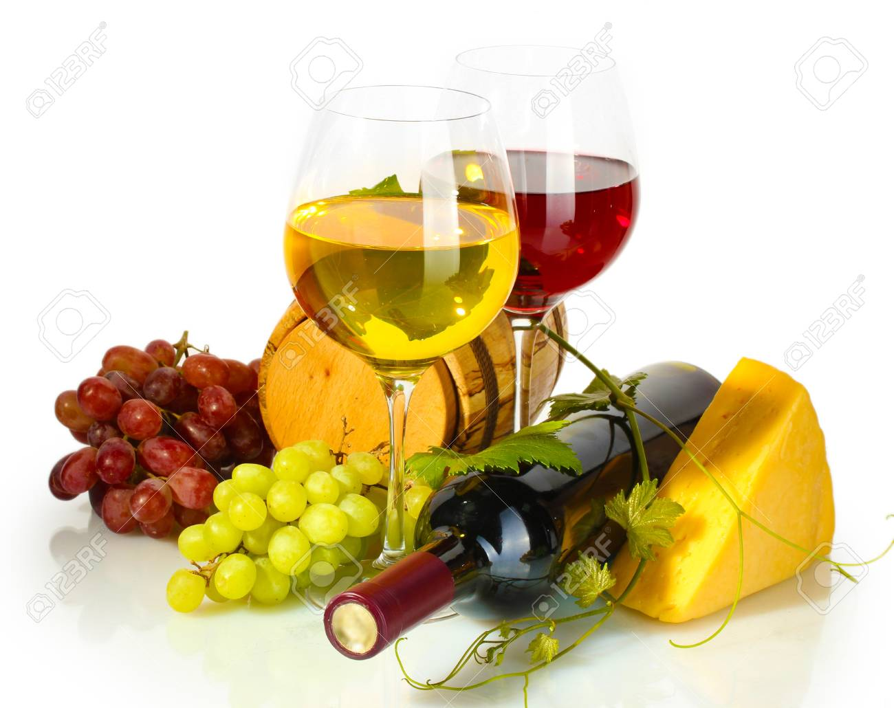 barrel, bottle and glasses of wine, cheese and ripe grapes isolated on white Stock Photo - 15065742
