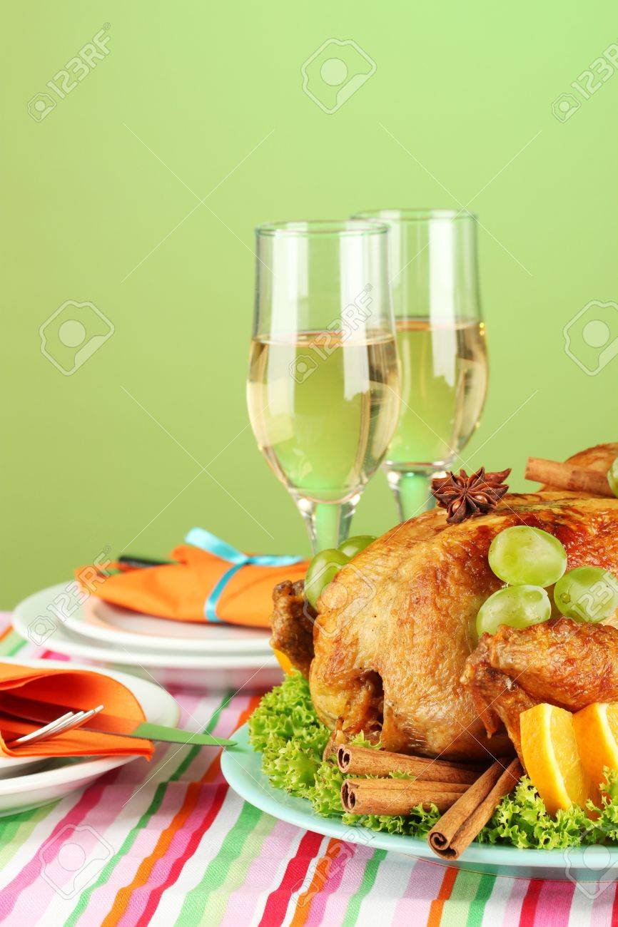 banquet table with roast chicken on green background close-up. Thanksgiving Day Stock Photo - 15408908