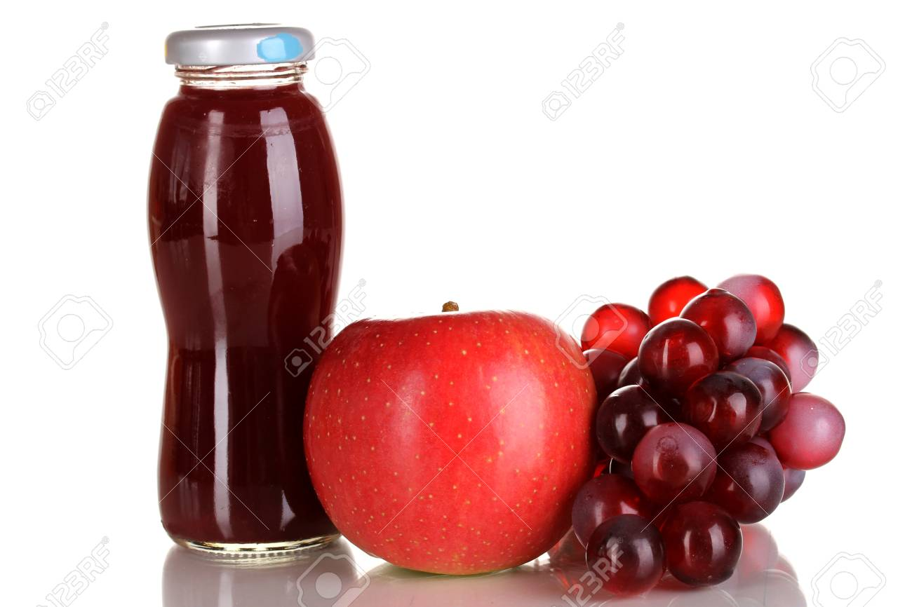 Delicious grapes and apple juice in glass bottle and pink grapes and apple next to it isolated on white Stock Photo - 15388503