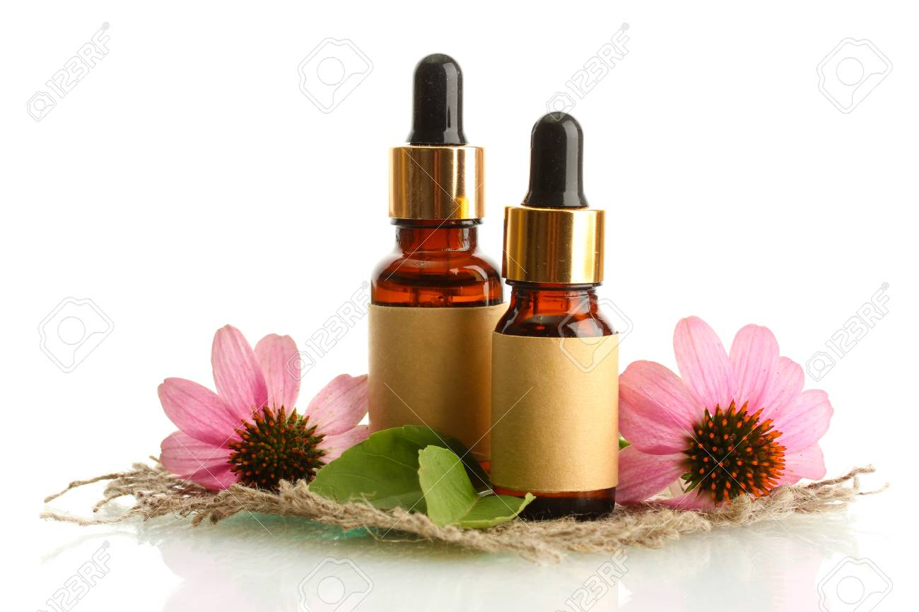 bottles with essence oil with purple echinacea , isolated on white Stock Photo - 15416524