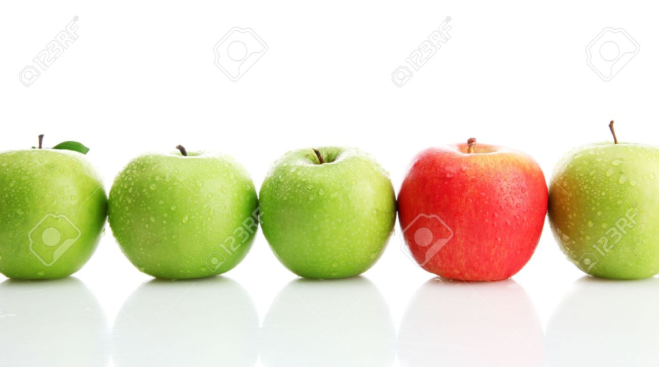 Ripe green apples and one red apple isolated on white Stock Photo - 15425258