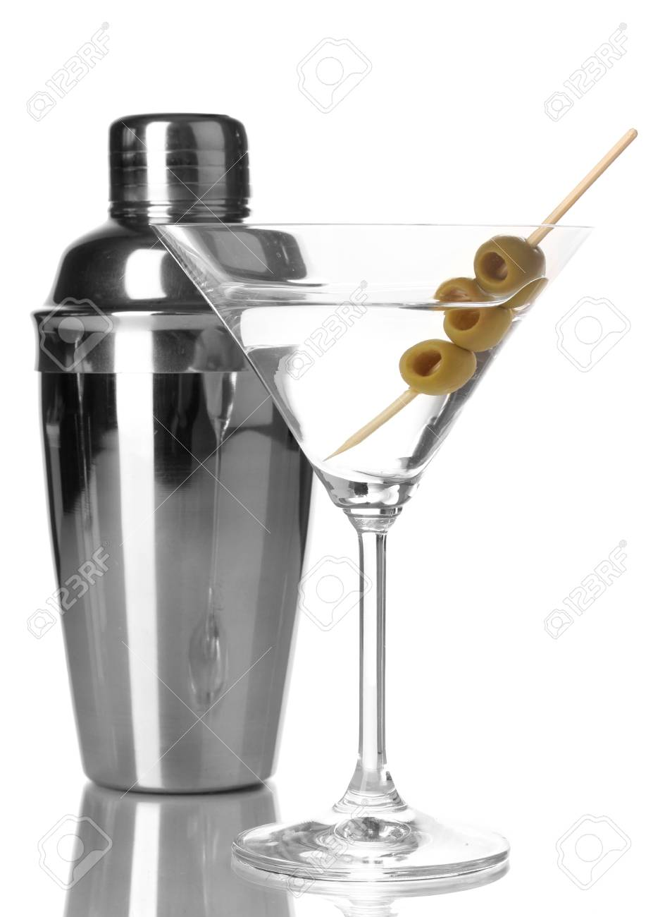 Martini glass with olives and shaker isolated on white Stock Photo - 15457244