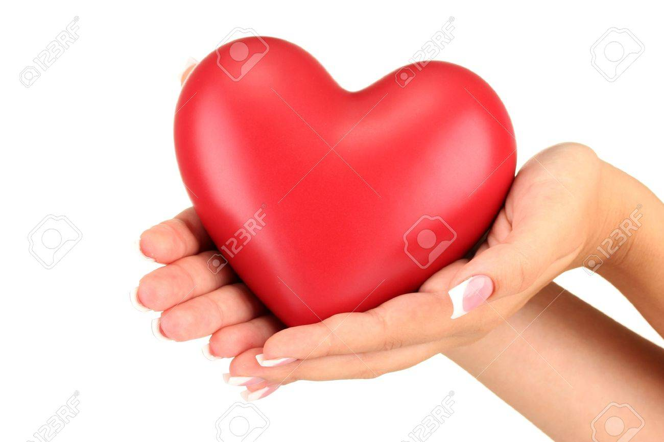 Red heart in woman's hands, on white background close-up Stock Photo - 15545715