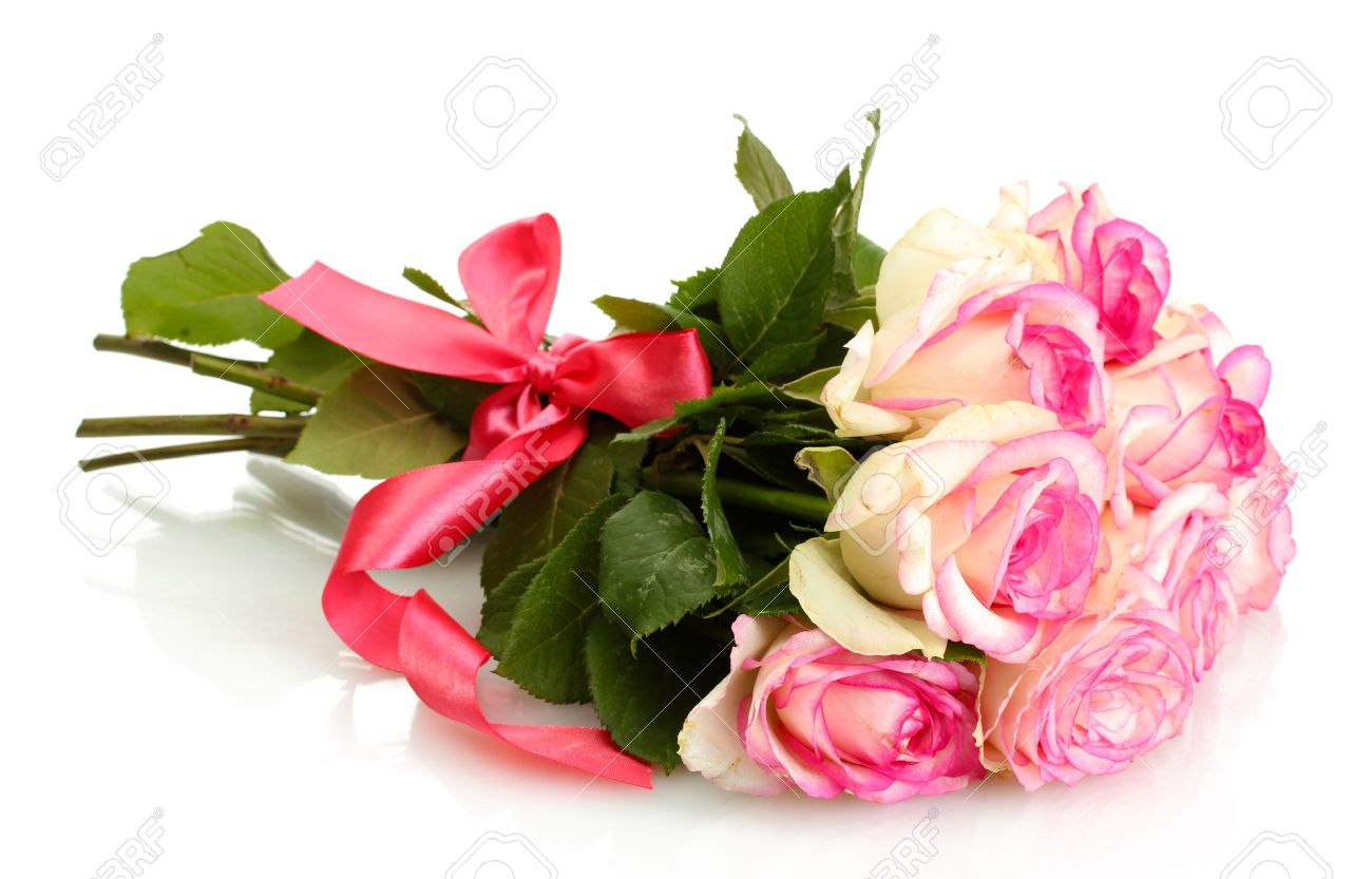 Bunch of flowers stock photos royalty free bunch of flowers images beautiful bouquet of pink roses isolated on white izmirmasajfo Image collections