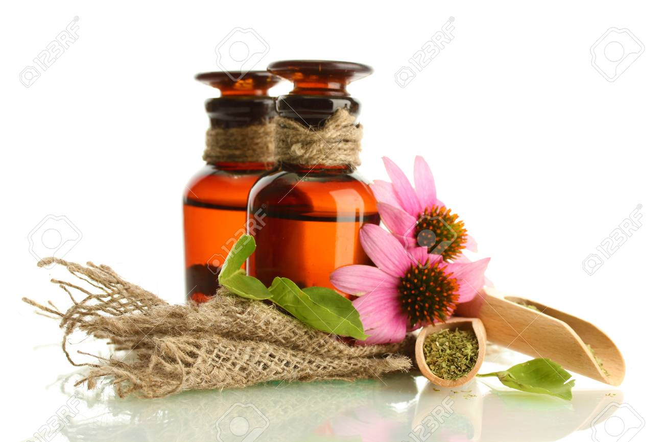 medicine bottles with purple echinacea , isolated on white Stock Photo - 15725523