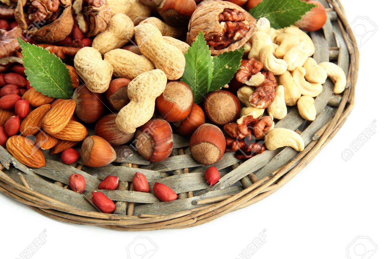 assortment of tasty nuts, isolated on white Stock Photo - 15782412